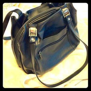 Handbags - 90s Retro Black Faux Leather Shoulder Bag